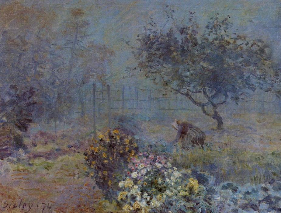 Foggy Morning, Voisins, 1874 by Alfred Sisley (1839-1899, France) | Painting Copy | WahooArt.com