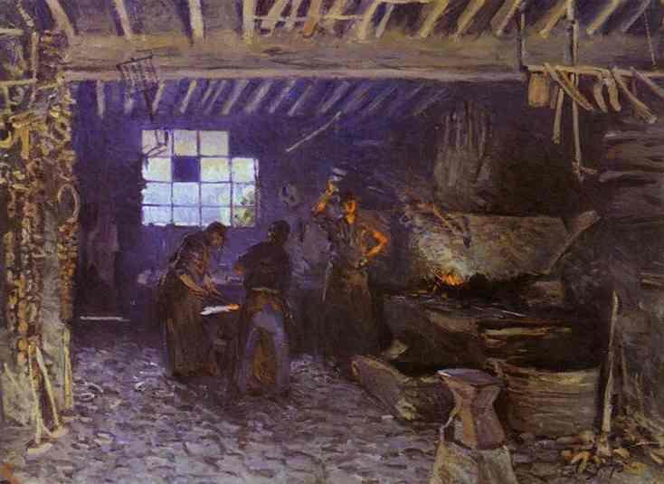 Forge at Marly le Roi, Oil On Canvas by Alfred Sisley (1839-1899, France)
