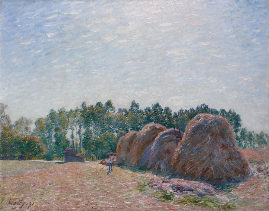 Haystacks at Moret Morning Light, Oil On Canvas by Alfred Sisley (1839-1899, France)