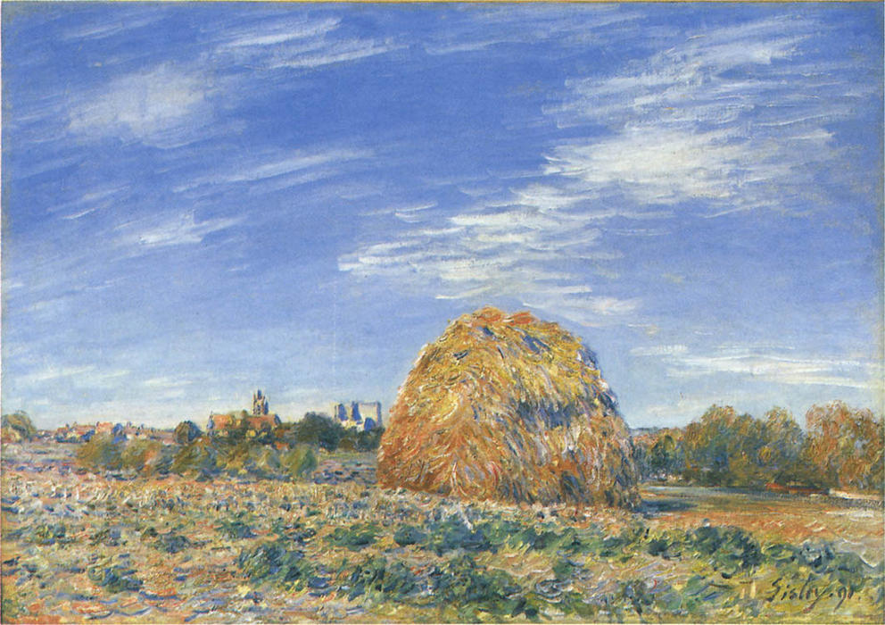 Haystacks in Moret in October, 1890 by Alfred Sisley (1839-1899, France) | WahooArt.com