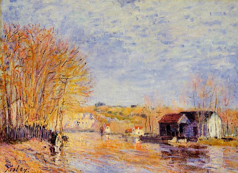 High Waters at Moret-sur-Loing, Oil by Alfred Sisley (1839-1899, France)