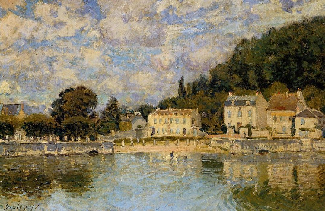 Horses being Watered at Marly le Roi, Oil On Canvas by Alfred Sisley (1839-1899, France)