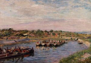 Alfred Sisley - Idle Barges on the Loing Canal at Saint-Mammes