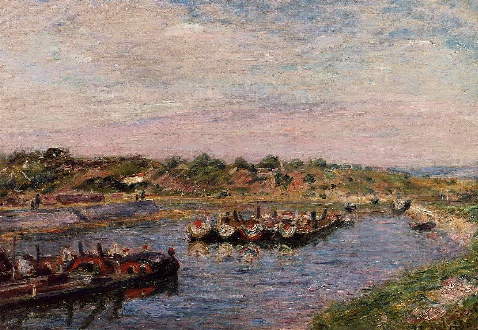 Idle Barges on the Loing Canal at Saint-Mammes, Oil On Canvas by Alfred Sisley (1839-1899, France)