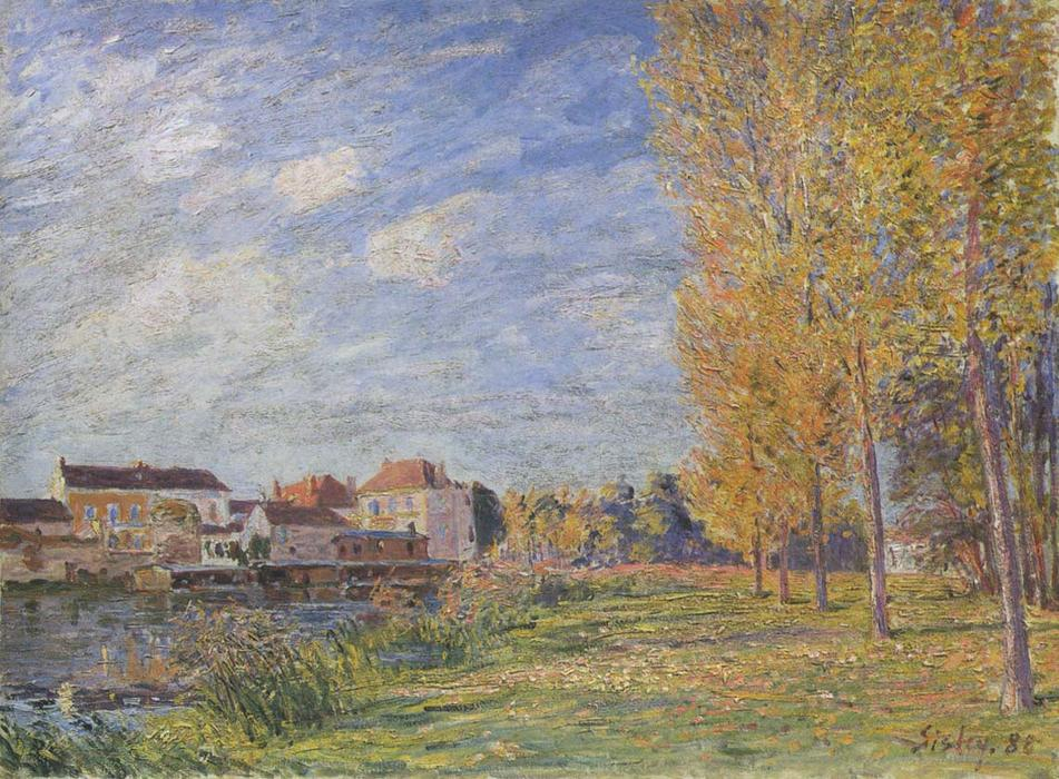 Indian Summer at Moret Sunday Afternoon, Oil On Canvas by Alfred Sisley  (order Fine Art hand made painting Alfred Sisley)