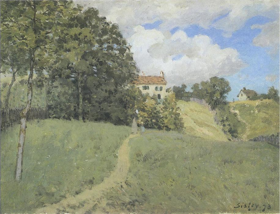 Landscape with Houses, Oil On Canvas by Alfred Sisley (1839-1899, France)