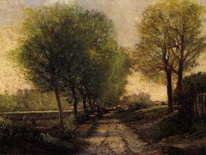 Alfred Sisley - Lane near a Small Town - (Famous paintings reproduction)