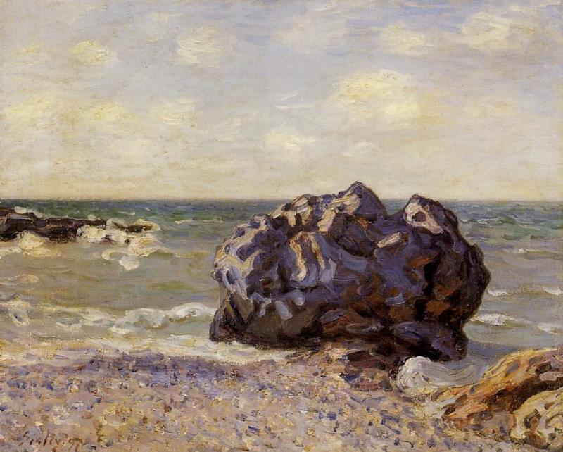 Langland Bay, Storr s Rock, Morning, 1897 by Alfred Sisley (1839-1899, France) | Famous Paintings Reproductions | WahooArt.com