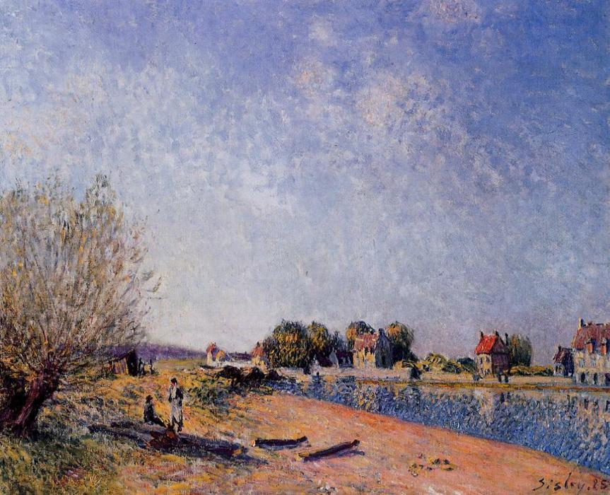 Loing Canal at Saint Mammes, 1885 by Alfred Sisley (1839-1899, France) | Museum Quality Reproductions | WahooArt.com