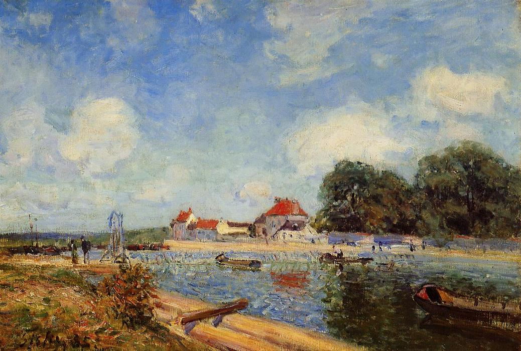 Loing Dam at Saint Mammes, Oil On Canvas by Alfred Sisley (1839-1899, France)