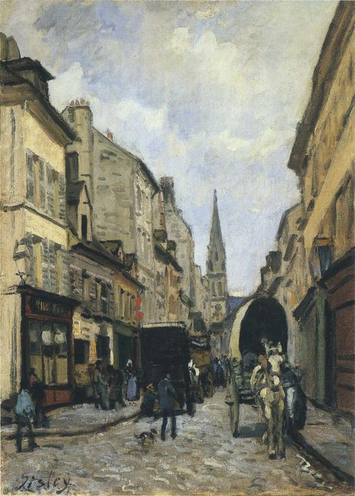 Main Street in Argenteuil, Oil On Canvas by Alfred Sisley (1839-1899, France)