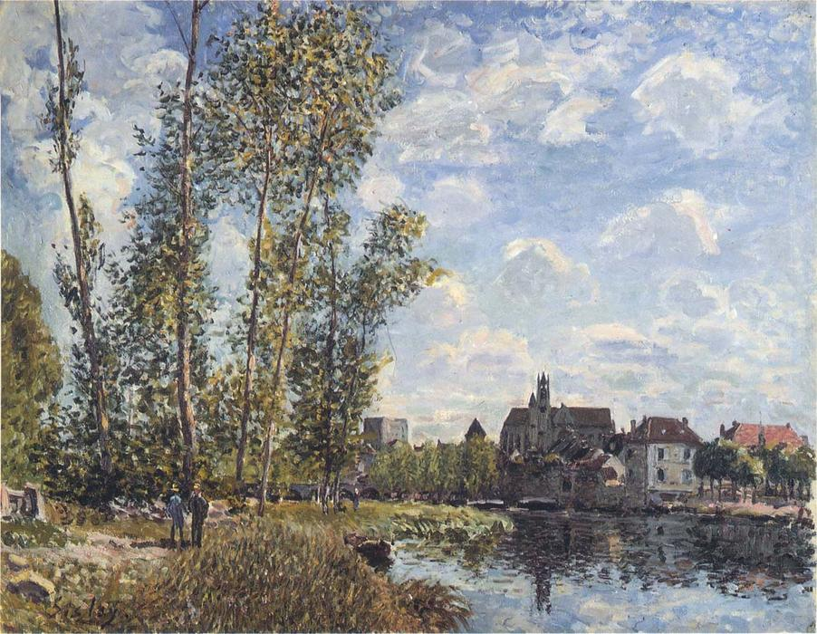 May Afternoon on the Loing, 1888 by Alfred Sisley (1839-1899, France) | Painting Copy | WahooArt.com