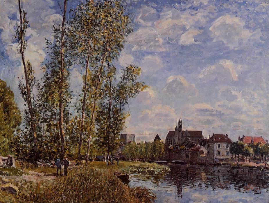 Moret, View from the Loing, May Afternoon, Oil On Canvas by Alfred Sisley (1839-1899, France)