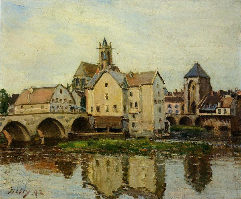 Moret sur Loing, Morning, 1892 by Alfred Sisley (1839-1899, France) | Famous Paintings Reproductions | WahooArt.com