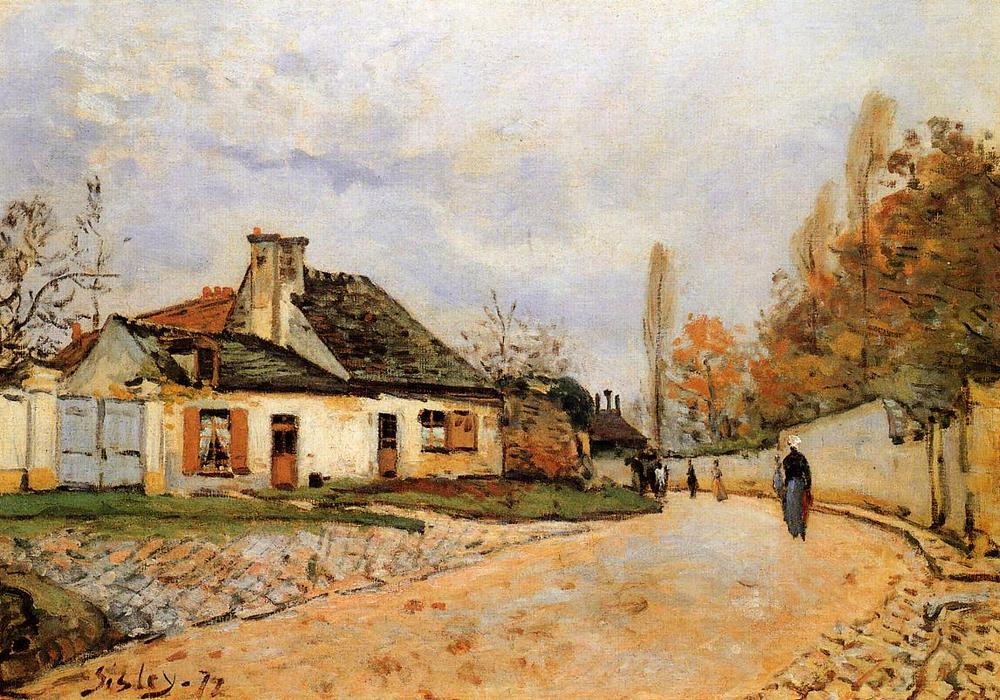 Neighborhood Street in Louveciennes (aka Rue de Village (Voisins to Louveciennes) by Alfred Sisley (1839-1899, France) | Oil Painting | WahooArt.com