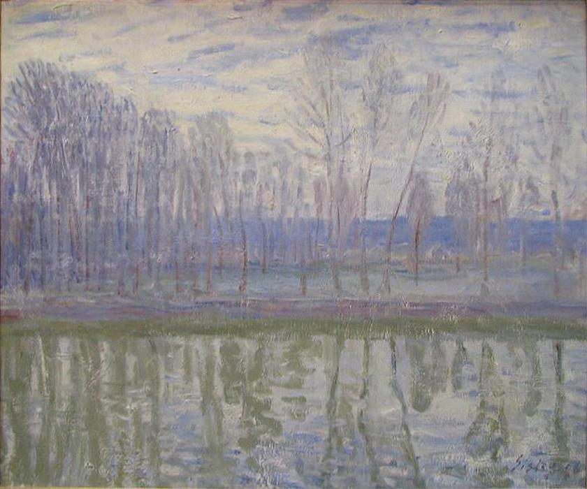 On the Banks of the River Loing by Alfred Sisley (1839-1899, France) | Paintings Reproductions Alfred Sisley | WahooArt.com