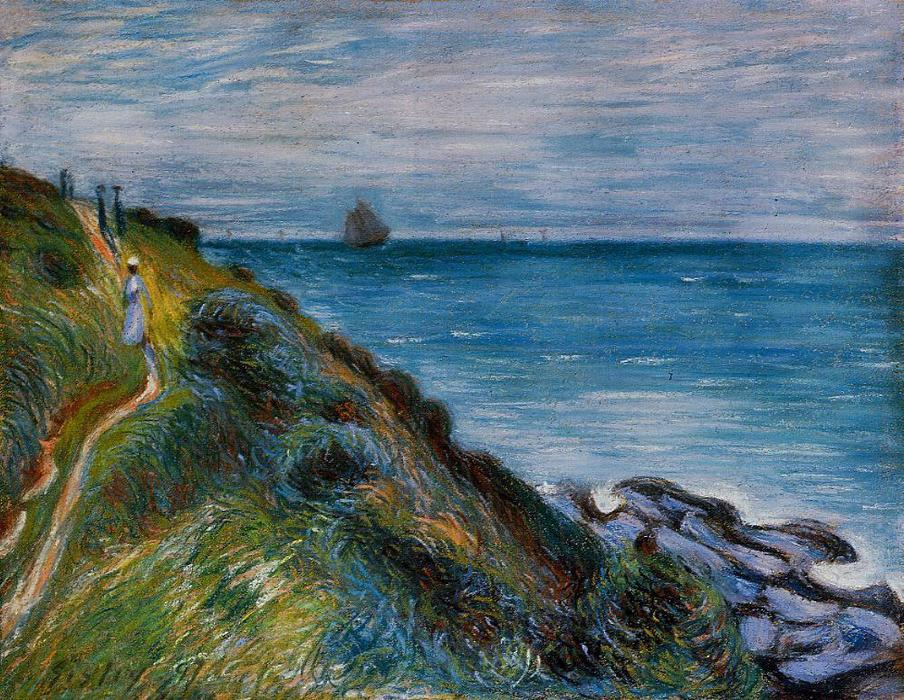 On the Cliffs, Langland Bay, Wales, Pastel by Alfred Sisley (1839-1899, France)