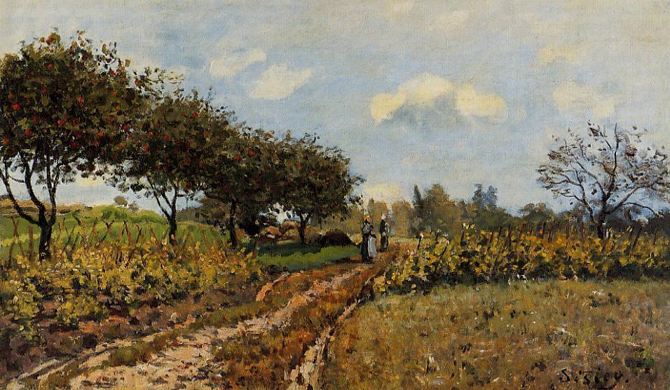 Path in the Country, 1876 by Alfred Sisley (1839-1899, France) | Oil Painting | WahooArt.com