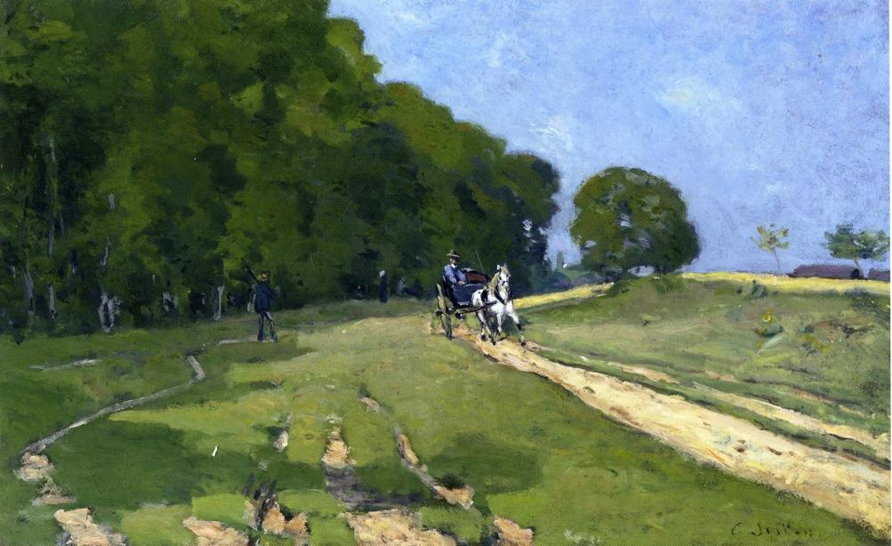 Path near the Parc de Courances, 1868 by Alfred Sisley (1839-1899, France) | Museum Quality Reproductions | WahooArt.com