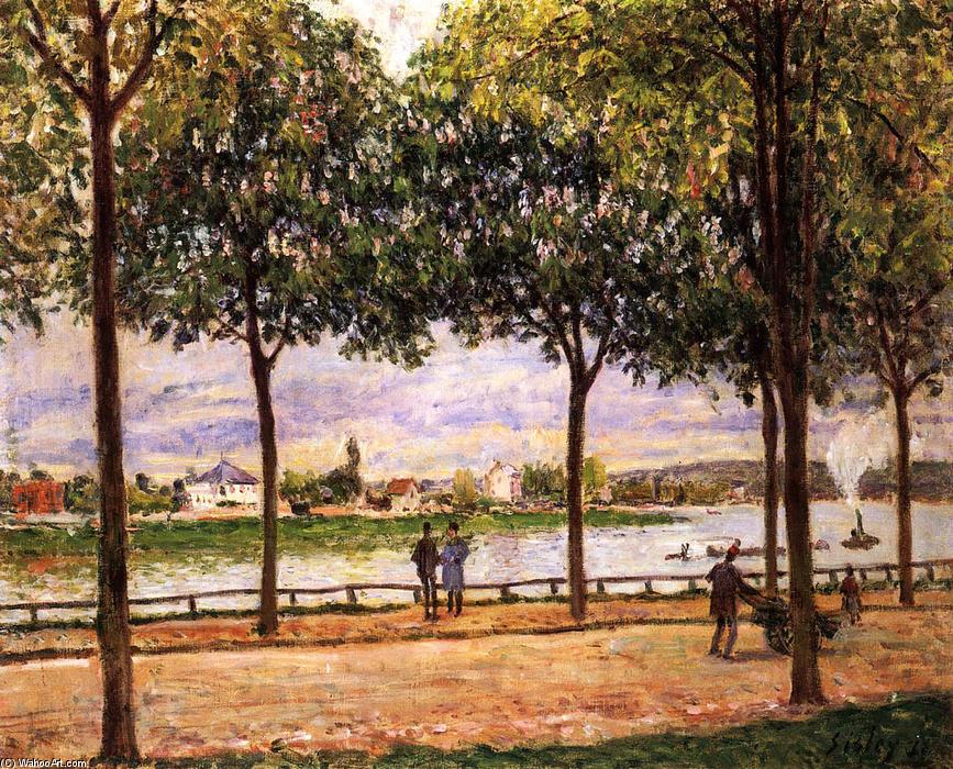 Order Oil Painting : Promenade of Chestnut Trees, 1878 by Alfred Sisley (1839-1899, France) | WahooArt.com