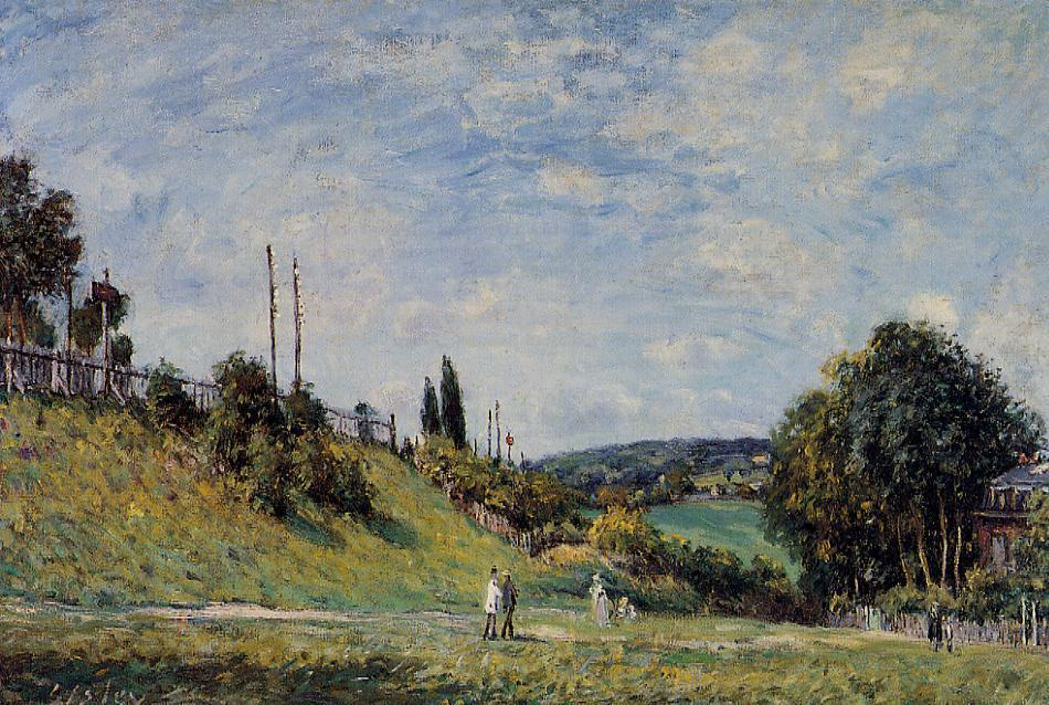 Railroad Embankment at Sevres, 1879 by Alfred Sisley (1839-1899, France) | Museum Quality Reproductions | WahooArt.com