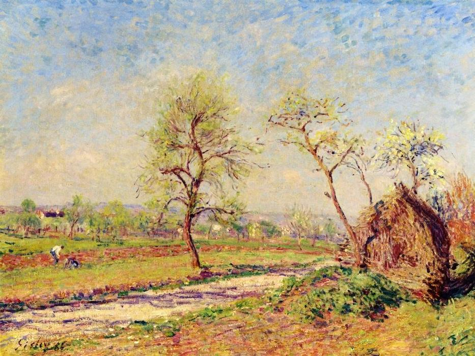 Road at Veneux, Oil On Canvas by Alfred Sisley (1839-1899, France)
