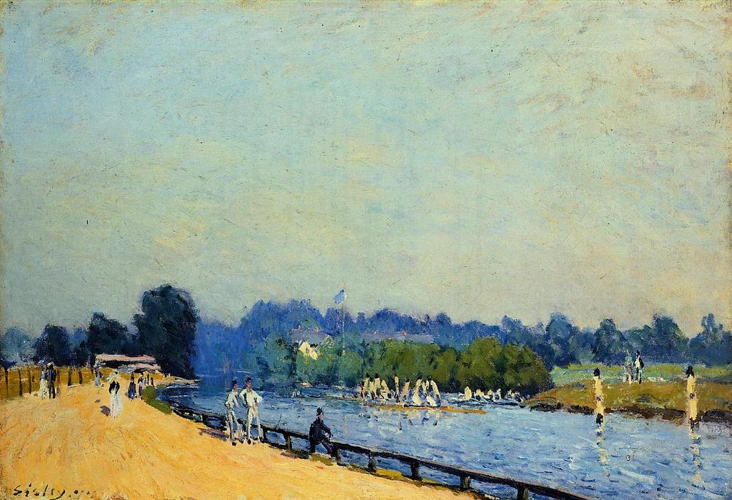Road from Hampton Court, 1874 by Alfred Sisley (1839-1899, France) | WahooArt.com