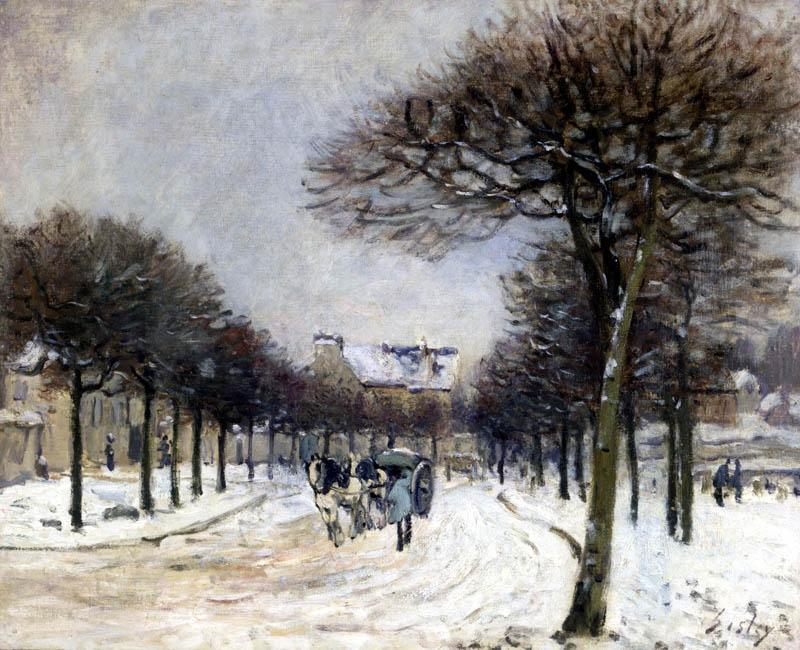 Road from Saint Germain to Marly, Oil On Canvas by Alfred Sisley (1839-1899, France)