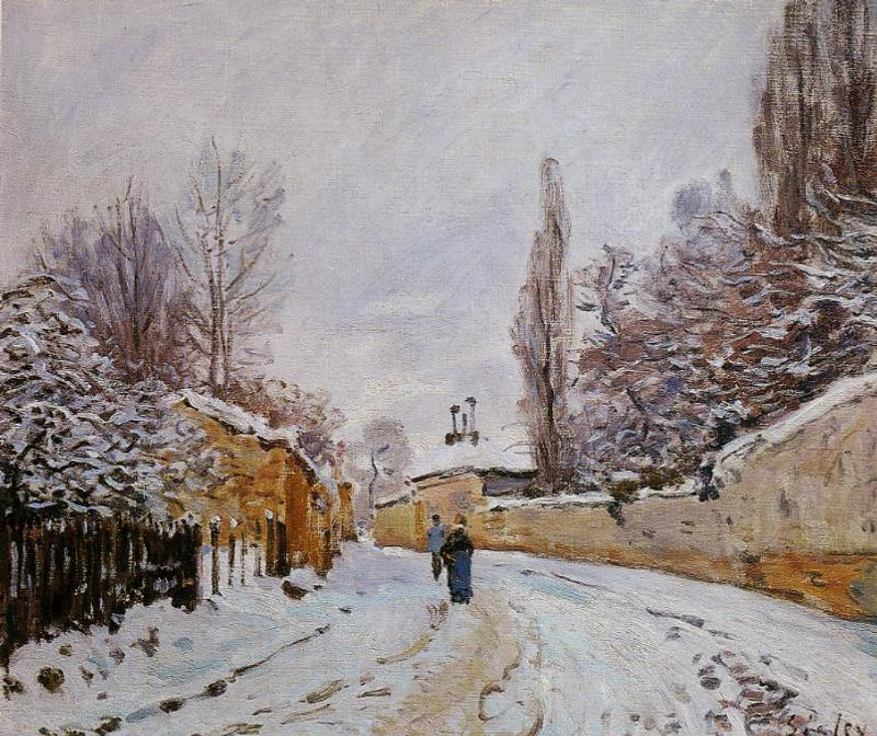 Road under Snow, Louveciennes, 1876 by Alfred Sisley (1839-1899, France) | Art Reproduction | WahooArt.com