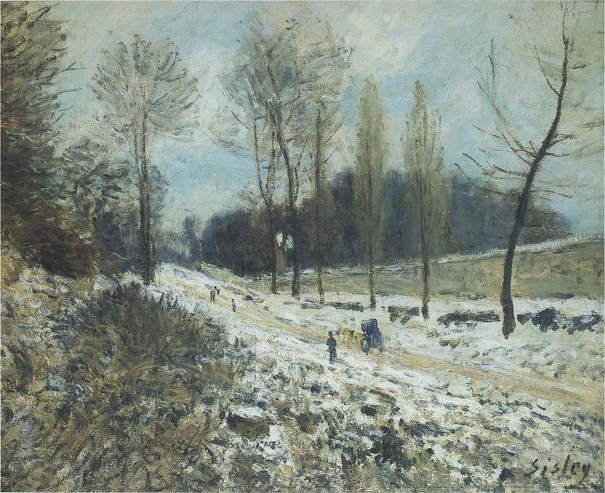 Route to Marly Le Roi in Snow by Alfred Sisley (1839-1899, France) | Museum Quality Reproductions | WahooArt.com