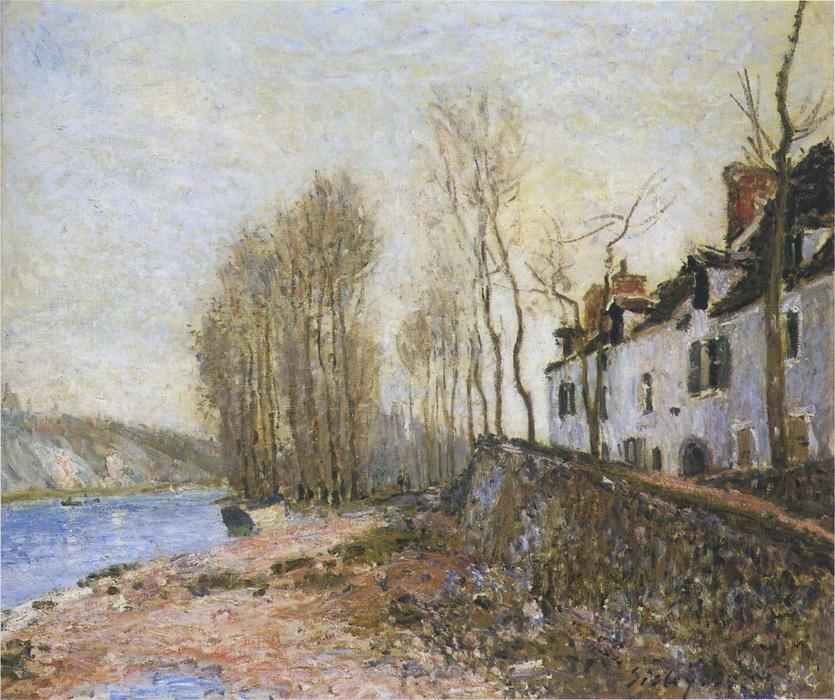 Saint Mammes in Winter, Oil On Canvas by Alfred Sisley (1839-1899, France)
