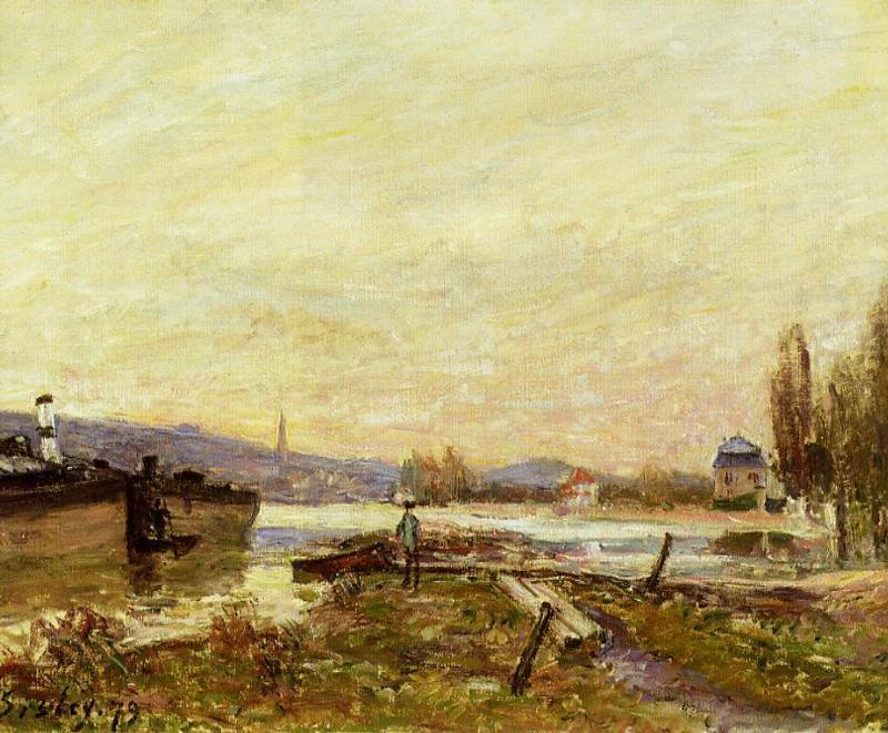 Saint Cloud, Banks of the Seine, Oil On Canvas by Alfred Sisley (1839-1899, France)