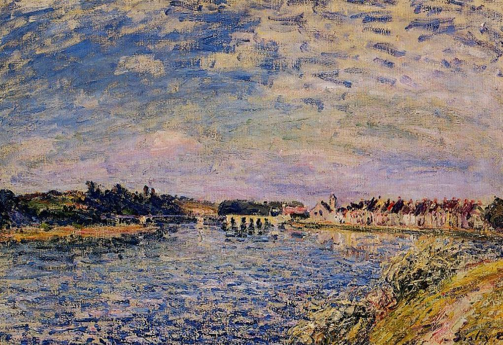 Saint Mammes Evening, Oil On Canvas by Alfred Sisley (1839-1899, France)