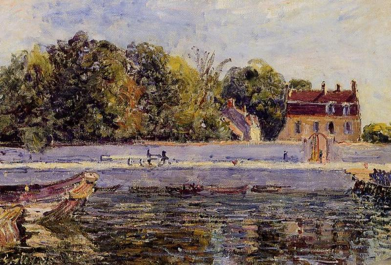 Saint Mammes House on the Canal du Loing, Oil On Canvas by Alfred Sisley  (order Fine Art Print on canvas Alfred Sisley)