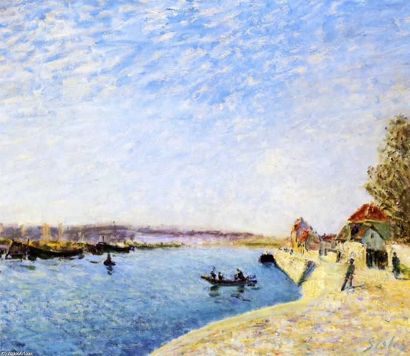 Saint-Mammes and the Banks of the Loing, 1884 by Alfred Sisley (1839-1899, France) | Famous Paintings Reproductions | WahooArt.com