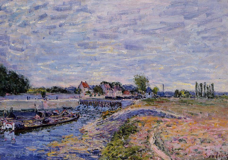 Saint Mammes Dam, Oil On Canvas by Alfred Sisley (1839-1899, France)