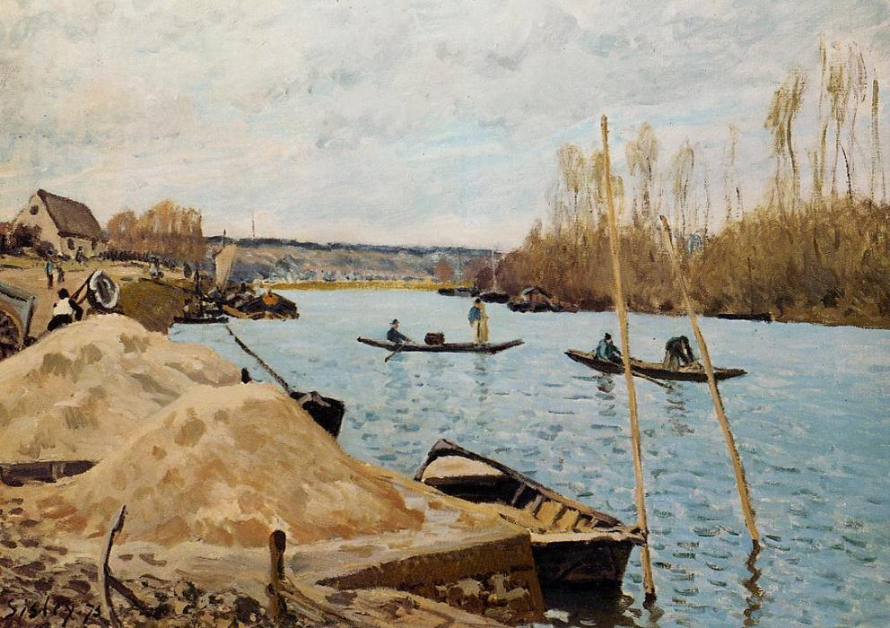 Sand Heaps by Alfred Sisley (1839-1899, France) | Famous Paintings Reproductions | WahooArt.com