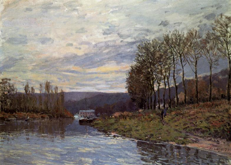 Seine at Bougival, Oil On Canvas by Alfred Sisley (1839-1899, France)