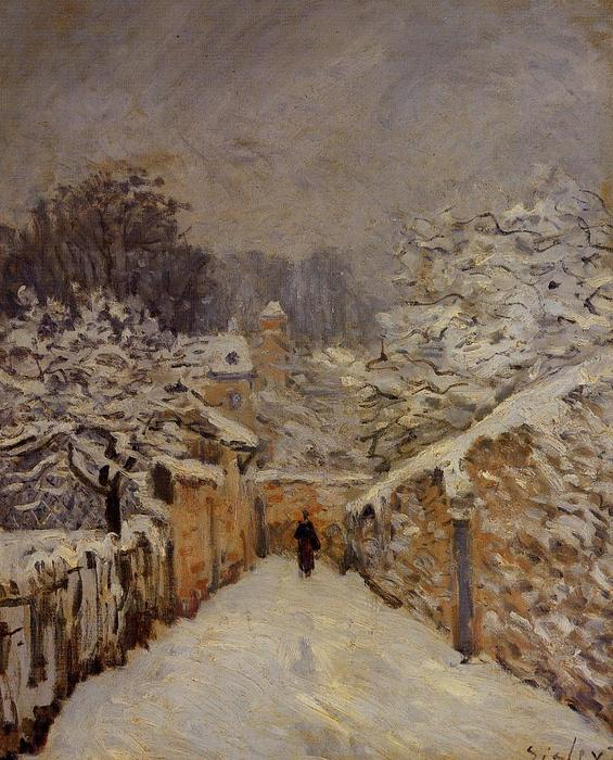 Snow at Louveciennes 2, Oil by Alfred Sisley (1839-1899, France)