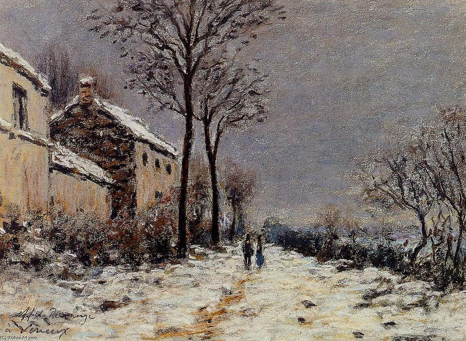 Snow Effect at Veneux, Pastel by Alfred Sisley (1839-1899, France)