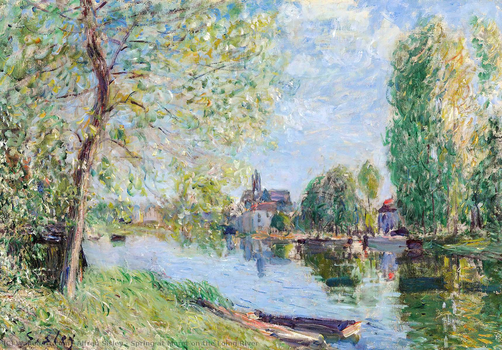 Spring at Moret on the Loing River, Oil On Canvas by Alfred Sisley (1839-1899, France)