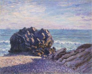 Alfred Sisley - Storr's Rock in Lady's Cove - Evening