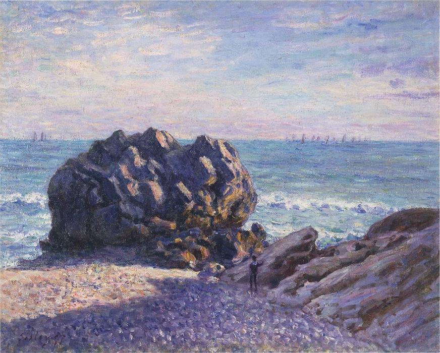 Storr's Rock in Lady's Cove - Evening, Oil On Canvas by Alfred Sisley (1839-1899, France)