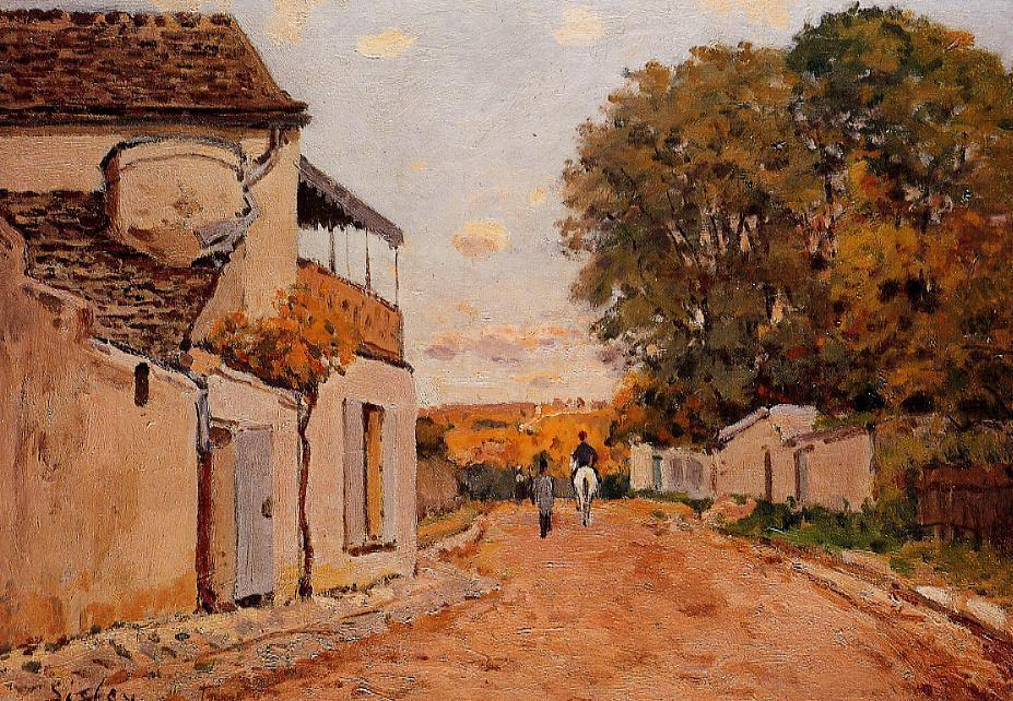 Street in Louveciennes (Rue de la Princesse), Oil On Canvas by Alfred Sisley (1839-1899, France)
