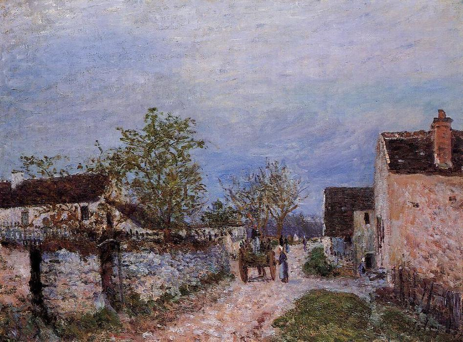 Street in Veneux, Oil On Canvas by Alfred Sisley (1839-1899, France)