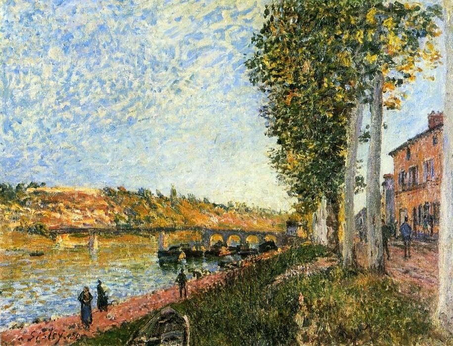 Sunrise at Saint Mammes, 1880 by Alfred Sisley (1839-1899, France) | Art Reproduction | WahooArt.com