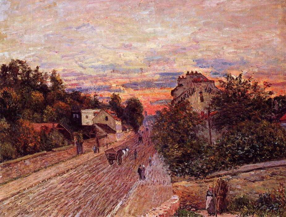 Sunset at Port Marly, 1876 by Alfred Sisley (1839-1899, France) | Art Reproductions Alfred Sisley | WahooArt.com