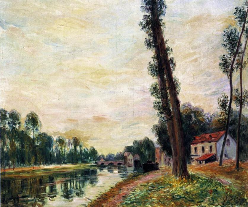 The Banks of the Loing, Oil On Canvas by Alfred Sisley (1839-1899, France)