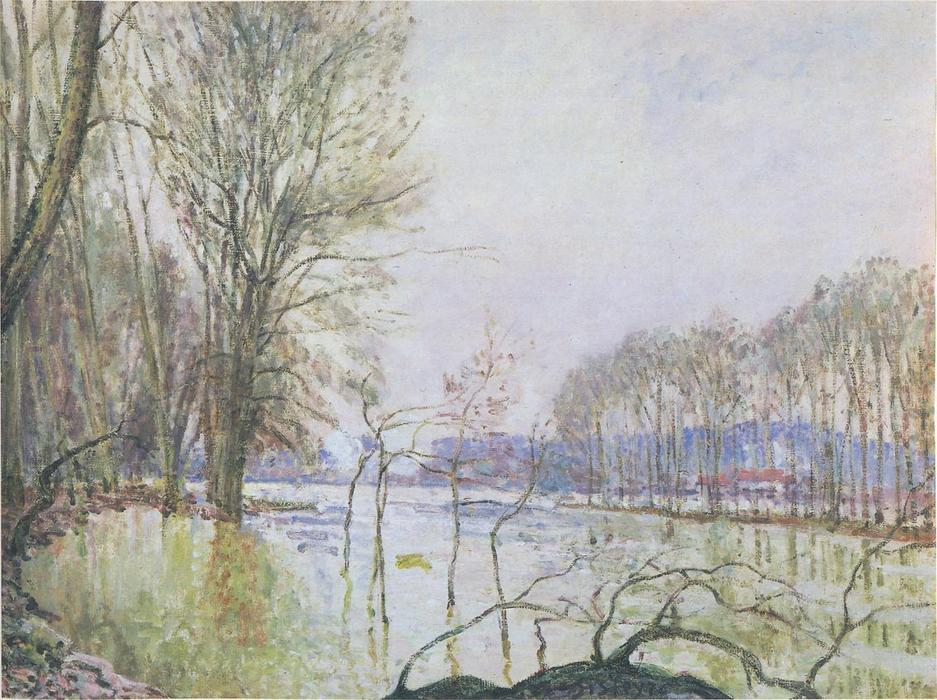 The Banks of the Seine in Autumn flood, Oil On Canvas by Alfred Sisley (1839-1899, France)