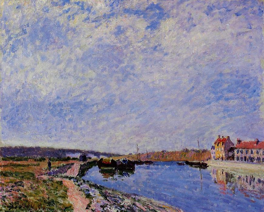 The Barge Port and Saint Mammes, Oil On Canvas by Alfred Sisley (1839-1899, France)